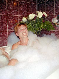 Relaxing bubble bath at Wild Rose Inn